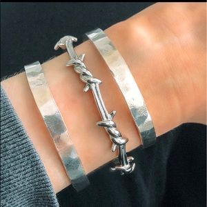 Sterling 925 Barbed Wire Cuff Bracelet